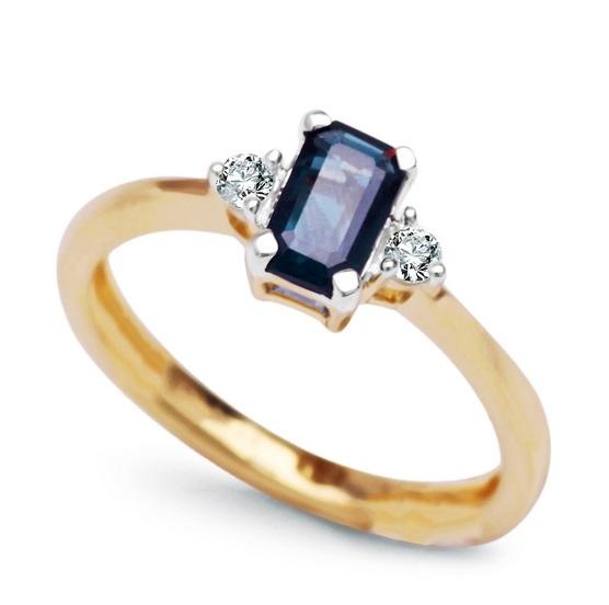 Zlatý prsten s 2 brilianty a safírem žluté a bílé zlato Au 0 683acefef8a