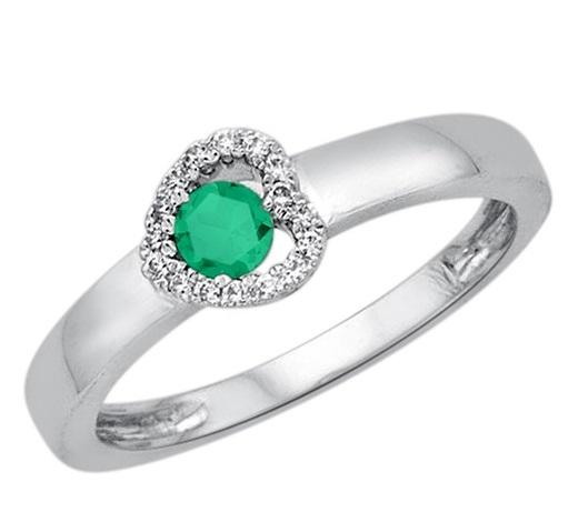 Zlatý prsten s 16 brilianty a smaragdem bílé zlato Au 0 72a6f5c3c7d