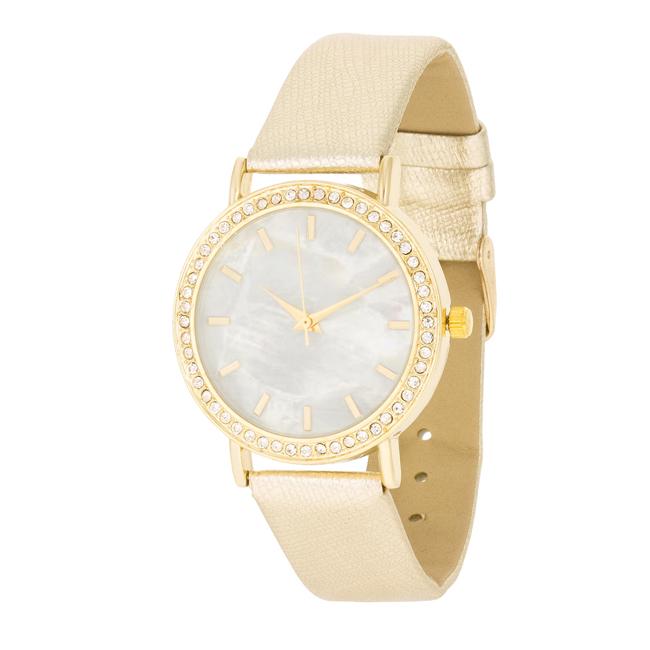 dd807631819 Dámské ocelové hodinky s CZ krystaly a páskem imitace kůže - zlaté