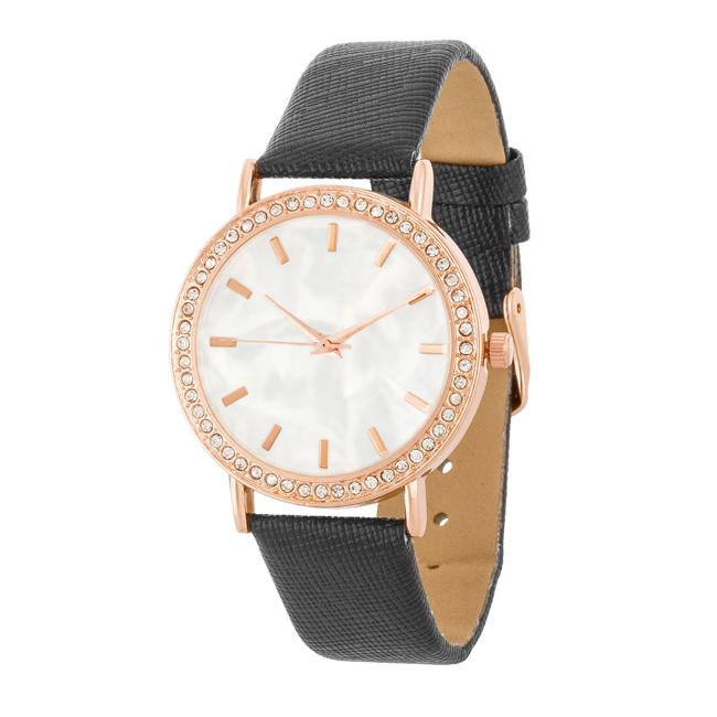 986201fbf51 Dámské ocelové hodinky s CZ krystaly a páskem imitace kůže - černé