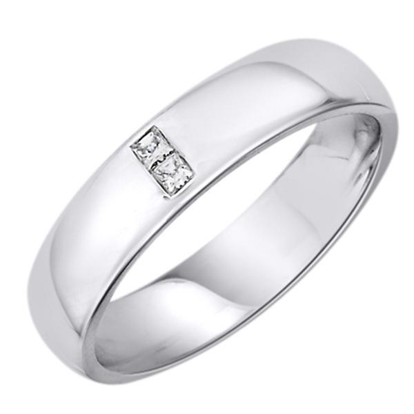 Snubní zlatý prsten s 2 brilianty bílé zlato Au 0 c919edc57b3