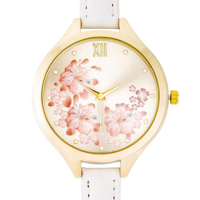 Dámské ocelové hodinky s koženým řemínkem bílé 386d3e2206d