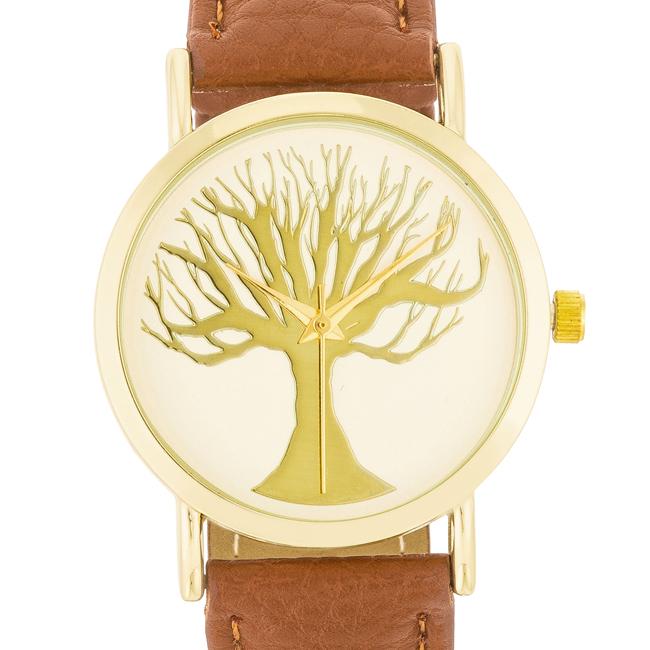 f4a7656b2ce Dámské ocelové hodinky s koženým řemínkem hnědé - design ciferníku strom