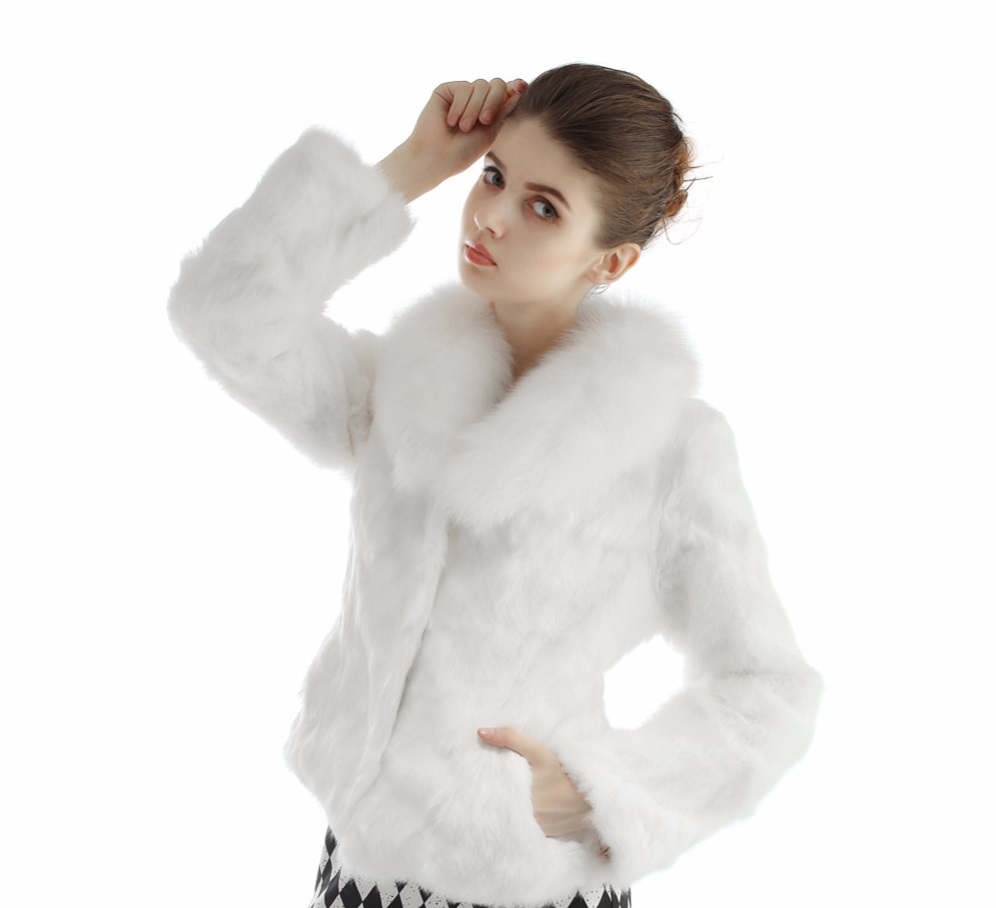 cf0007ad98a Kožešinový kabátek z králíka a límcem z lišky - pravá kožešina bílý