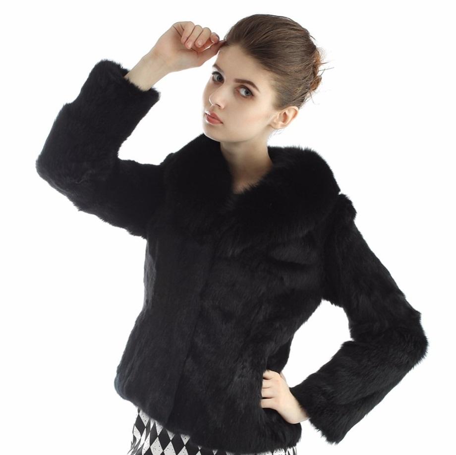 0f8f8ef27e1 Kožešinový kabátek z králíka a límcem z lišky - pravá kožešina černý