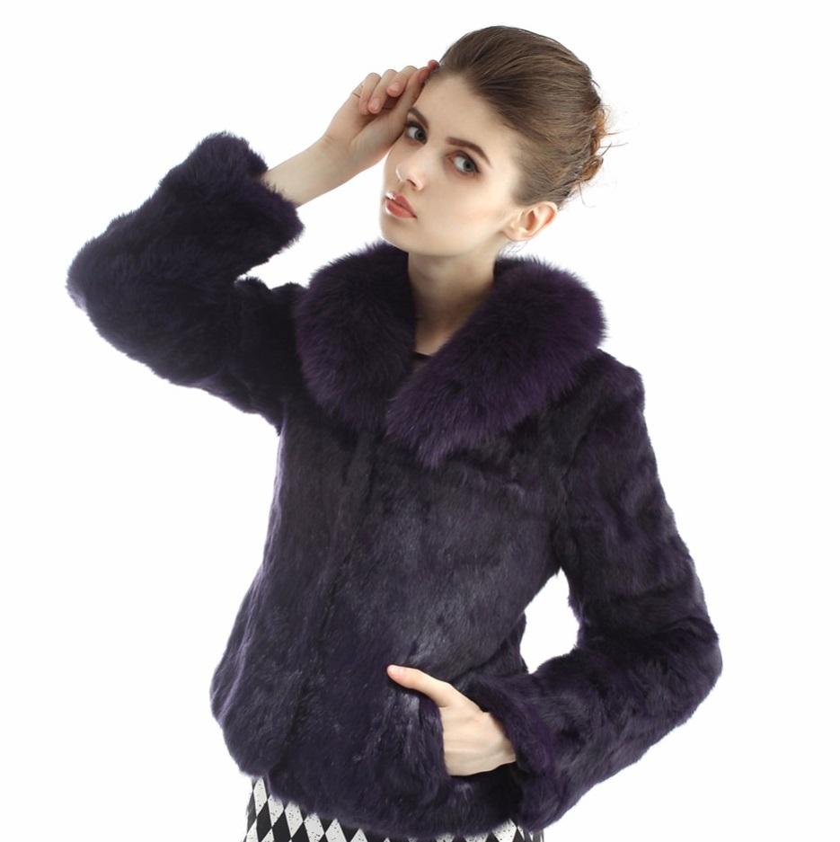 Kožešinový kabátek z králíka a límcem z lišky - pravá kožešina fialový 4ccdff6f4b