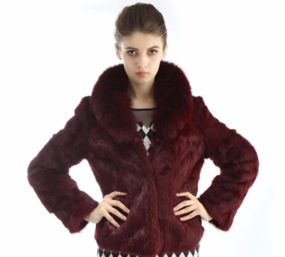 5203ceff38e Kožešinový kabátek z králíka a límcem z lišky - pravá kožešina vínový
