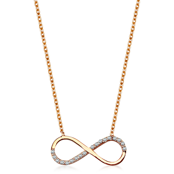 b98b4fc8a Dámský zlatý náhrdelník se zirkony žluté zlato Au 0,585 Nekonečno NZC5038