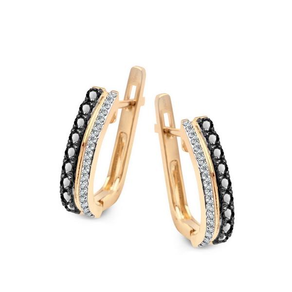 7c0480a96 Zlaté náušnice s 38 diamanty a 18 safíry žluté zlato Au 0,585 - KZD5129