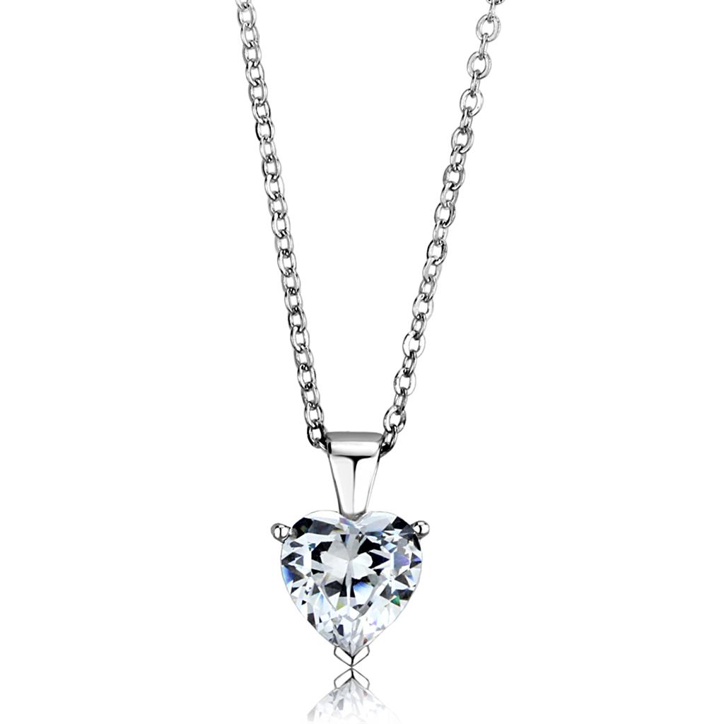 63a7b8b1e Stříbrný, rhodiovaný dámský náhrdelník s Cubic Zirconia Stříbro 925 - Srdce