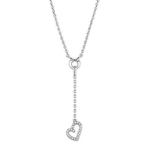 8ee524b99 Rhodiovaný dámský náhrdelník s Cubic Zirconia - Srdce Teagan | E ...