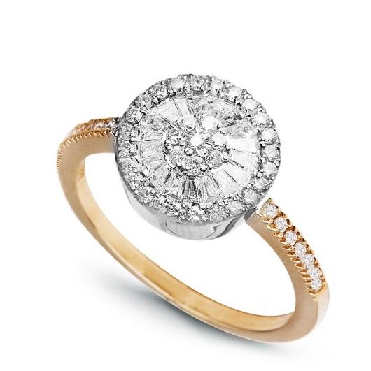 Zlatý prsten s 48 brilianty a 16 diamanty žluté a bílé zlato Au 0 739567d22f