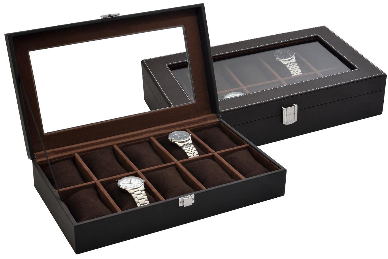 Box - kazeta na hodinky koženkový na 10 ks hnědý SP-937 A21 - de7aaf9d12