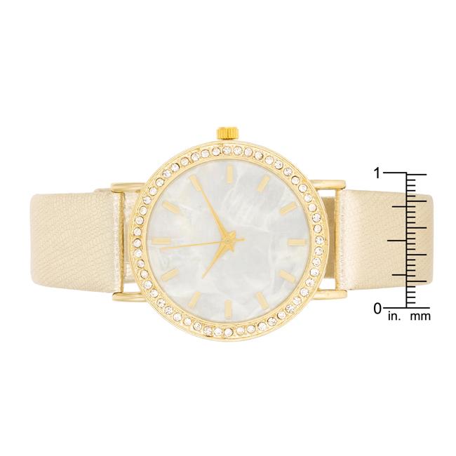 7b62896d996 Dámské ocelové hodinky s CZ krystaly a páskem imitace kůže - zlaté ...