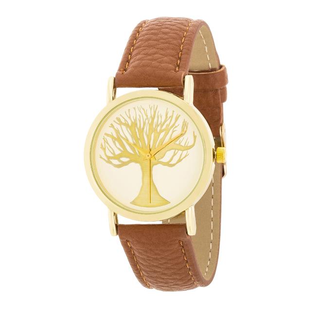 9d081219573 Dámské ocelové hodinky s koženým řemínkem hnědé - design ciferníku ...