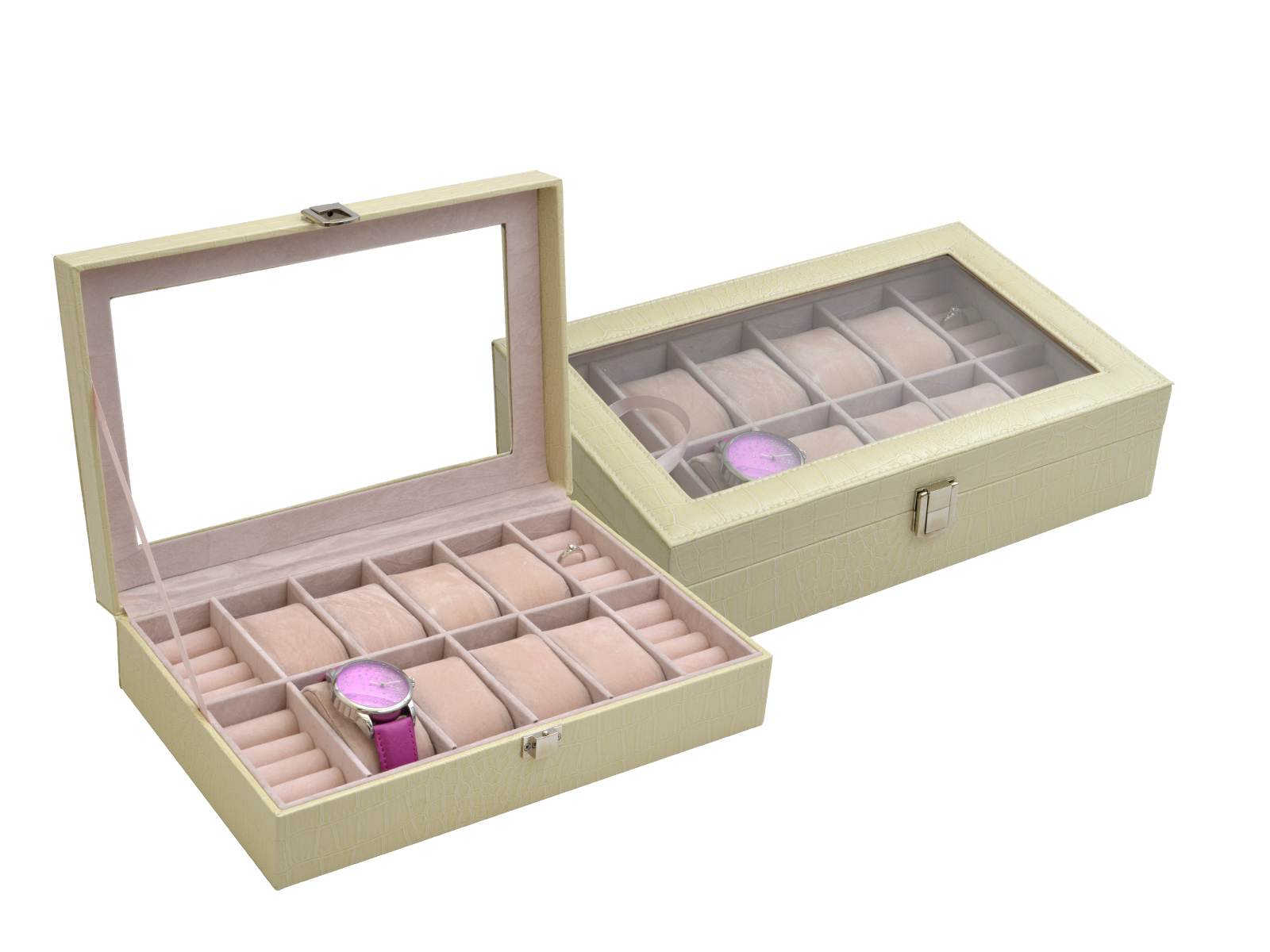 Šperkovnice - box na hodinky a prsteny koženkový na 8 ks krémový SP ... 0b6467d20d