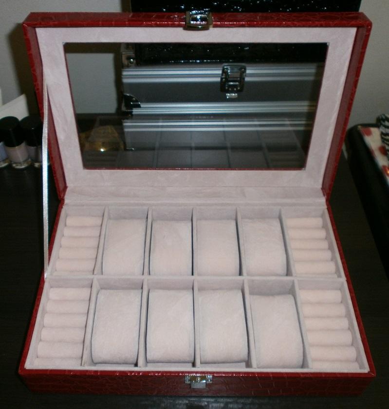 Šperkovnice s boxy na hodinky a prsteny koženkový na 8 ks červený SP ... 0642e97640
