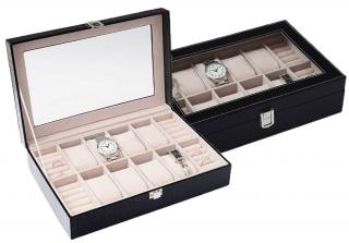 Šperkovnice s boxy na hodinky a prsteny koženkový na 8 ks černý SP-938  fa0abd8236