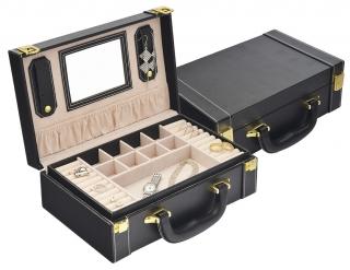 Šperkovnice s boxy na hodinky a šperky koženkový na 6 ks černý SP-942  15ce3cb9f4