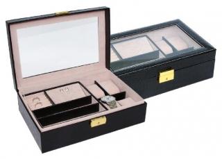Šperkovnice s boxy na hodinky a šperky koženkový na 4 ks černý SP-956  77f29922c5