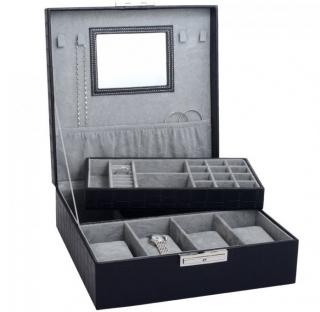 Šperkovnice s boxy na hodinky a šperky koženkový na 4 ks černý SP-941  7fbb159178