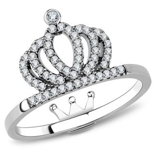 2de980e2d4a Ocelový dámský prsten s Cubic Zirconia Ocel 316 - Korunka