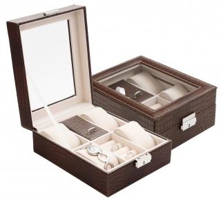 Šperkovnice s 4 boxy na hodinky koženková design croco hnědá SP-1810 A21 cf0e23d352