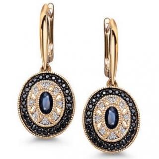 c13216040 Zlaté náušnice s 16 diamanty a 50 safíry žluté zlato Au 0,585 - KZC5376