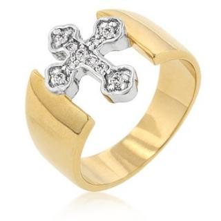 Pozlacený, rhodiovaný prsten s Cubic Zirconia - Cross - kříž ...